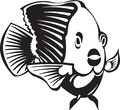 Black and White Tropical Fish Illustration Royalty Free Stock Photo