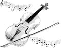 Black white vector illustration violin Royalty Free Stock Photo