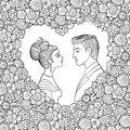 Black and white vector illustration of young couple. Man and woman looking to each other in decorative heart-shaped floral frame.
