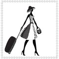 Black white vector illustration young elegant woman luggage summer Royalty Free Stock Photography