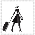 Black white vector illustration young elegant woman luggage winter Stock Image