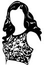 Black and white vector sketch of an oval face girl Royalty Free Stock Photo