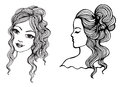 Black and white vector sketches beautiful girls Royalty Free Stock Photo