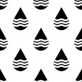 Black and white vector water drops seamless pattern Royalty Free Stock Photo