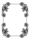 Black and white vertical abstract frame with decorative flowers.