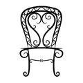 Black and white vintage chair on white background