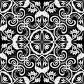Black and white vintage Damask seamless pattern. Vector ornamental monochrome ornate background. Elegance hand drawn line art