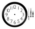 Black and white wall clock with hands separated picture Royalty Free Stock Images