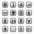 Black and white washing machine and laundry icons