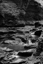 Black and white waterfalls beautiful of cascading falls rock formations Stock Photo