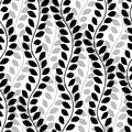 Black and white wavy ivy vines leaves vertical seamless pattern, vector