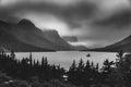 Black and white Wild Goose Island. Glacier National Park, Montana Royalty Free Stock Photo