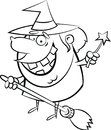 Halloween coloring page B&W witch on a broom
