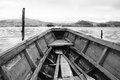 Black and white wooden boat whit landscape view Royalty Free Stock Photo