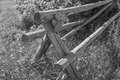 Black and White Wooden Type Rail Fence Royalty Free Stock Photo