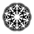Black wiccan circular ornament vector illustration on white Royalty Free Stock Photo