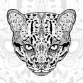 The black and wild cat white  print with ethnic zentangle patterns. Coloring book for adults antistress. Art therapy Royalty Free Stock Photo