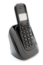 Black wireless telephone on a white background Royalty Free Stock Photo