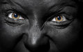 Black witch close up view on evil with skin Royalty Free Stock Photo