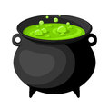Black witches cauldron with potion old green isolated on white Royalty Free Stock Photo