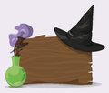 Black Wizard Hat on Wood Wall with Magic Potion, Vector Illustration Royalty Free Stock Photo
