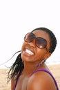 Black woman with fake smile Royalty Free Stock Photo