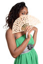 Black woman with fan Royalty Free Stock Photo