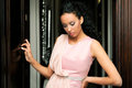Black woman, model of fashion, with pink dress Royalty Free Stock Photo
