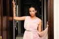 Black woman, model of fashion, with pink dress Royalty Free Stock Photos