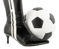 Black woman shoe and football ball Royalty Free Stock Photo
