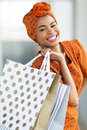 Black woman shopping mall beautiful spree in Stock Images