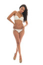 Black woman in white bikini Royalty Free Stock Photo