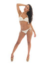 Black woman in white bikini Royalty Free Stock Photo