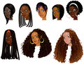Black women faces vector illustration of great for avatars makeup skin tones or hair styles of african Royalty Free Stock Image