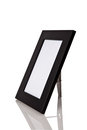 Black wood frame with reflexion on white background Royalty Free Stock Photo