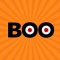 Black word BOO text with red eyes. Evil eyeballs. Happy Halloween. Greeting card. Flat design. Orange starburst sunburst Royalty Free Stock Photo
