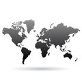 Black world map illustration of isolated on a white background Royalty Free Stock Photography
