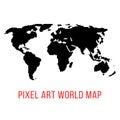 Black world map in pixel art