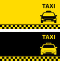 Black and yellow business card with taxi car image text Stock Images