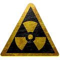 Black and yellow nuclear sign isolated on a white background Royalty Free Stock Photos