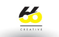 66 Black and Yellow Number Logo Design.