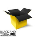 Black and yellow open box 3D/ illustration