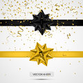 Black and yellow satin bows.Vector illustration. White background. Luxury bows and ribbons collection with confetti. Royalty Free Stock Photo