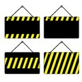 Black and yellow signs a set of with stripes Royalty Free Stock Photo