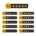 Black and yellow star rating design gold icons set. Review the quality best rank by five. Success symbol vector illustration Royalty Free Stock Photo