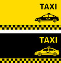 Black and yellow taxi business card with image Stock Photos