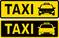 Black and yellow taxi sign with cab image text Stock Image