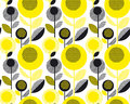Black and yellow textured 60s floral retro pattern.