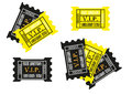 Black and yellow tickets sets of admission Stock Image