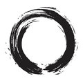 Black Zen Brush Circle Stroke Vector Art